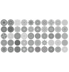 big set of round patterns collection of vector image vector image