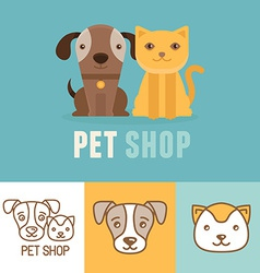 dog and cat icons and logos vector image vector image