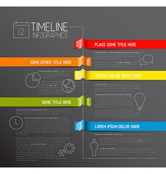 Infographic dark timeline report template vector image