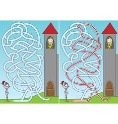 Knight and princess maze vector image