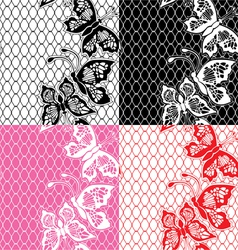 Set of Lace seamless patterns with butterflies vector image vector image