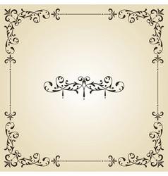 Vintage floral frame and retro royal label vector