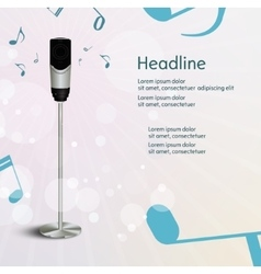 Abstract sound background with microphone vector image