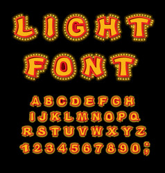 light font retro alphabet with lamps glowing vector image