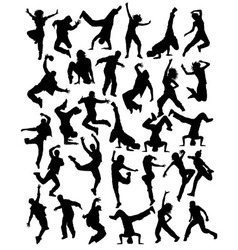 Modern Dancing Hobbies Silhouettes vector image