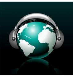 musical globe with speaker vector image