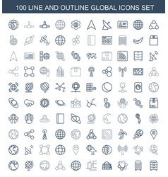 100 global icons vector image