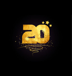 20 number icon design with golden star and glitter vector image