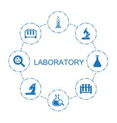 8 laboratory icons vector