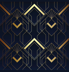 Abstract art deco seamless blue and golden vector