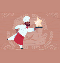 african american chef cook hold star award smiling vector image