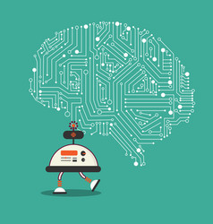 ai robot with brain mechanism design vector image