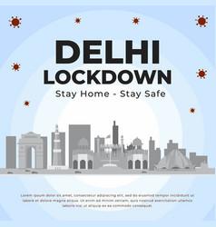 banner design delhi lockdown vector image