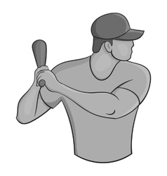 Baseball player icon black monochrome style vector image