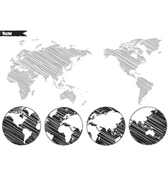 Black World map and compass vector image