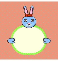 Blue bunny holding banner card in paws Birthday vector