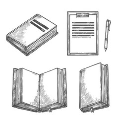 Book notebook pen and clipboard sketch design vector