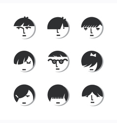 Boys And Girls Head Icons vector image