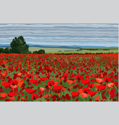 bright poppy field with bushes trees and blue sky vector image