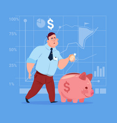 business man put coin piggy bank money investment vector image