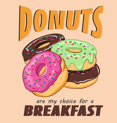 Card with sweet card with motley donuts vector