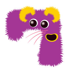 cartoon cute purple and yellow monster number vector image