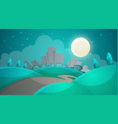 cartoon night landscape city moon tree road vector image