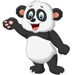 Cartoon panda presenting vector image