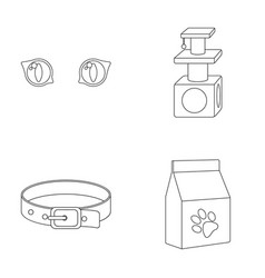 Cat s-eye cat lodge collar package with food vector