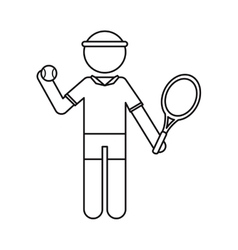 Character player tennis and ball racket ouline vector