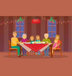 christmas dinner at home celebration of people vector image
