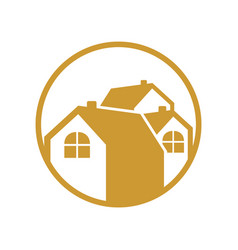 circular group house gold logo vector image