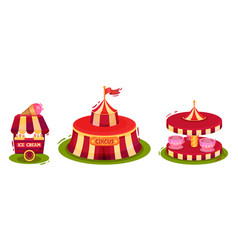 Circus attribute with striped tent ice cream vector