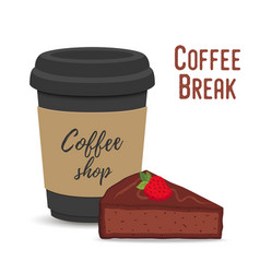 Coffee break concept mug and brownie vector