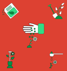 Collection of icons and care of plants vector