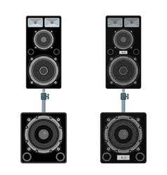 color flat style loudspeakers stand subwoofer pair vector image