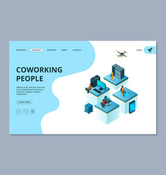 Coworking landing web page design template vector
