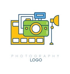 creative logo template with camera film strip vector image