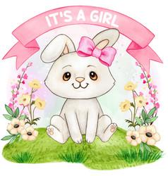 cute watercolor bunny girl baby shower vector image
