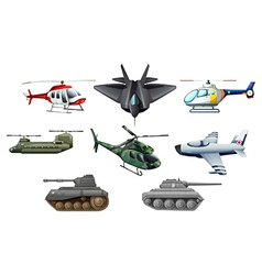 Different war transportations vector
