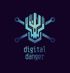 digital danger icon vector image