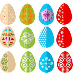 easter colored eggs design set in modern flat vector image