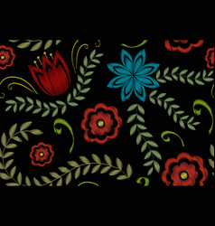 embroidery trendy floral seamless pattern flowers vector image
