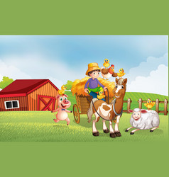 Farm scene in nature with barn and horse drawn vector