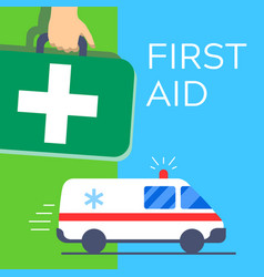 first aid kit bag carried in hand green cross and vector image