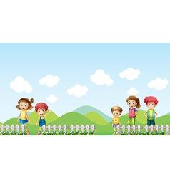 Five children in farm vector