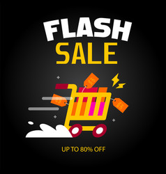 flash sale cart black background image vector image