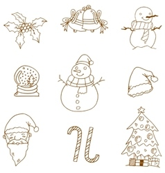 Flat christmas doodles art vector