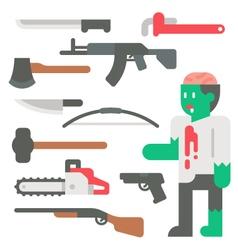 Flat design zombie apocalypse item set vector