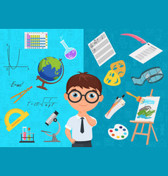 Flat style of diligent schoolboy character in vector